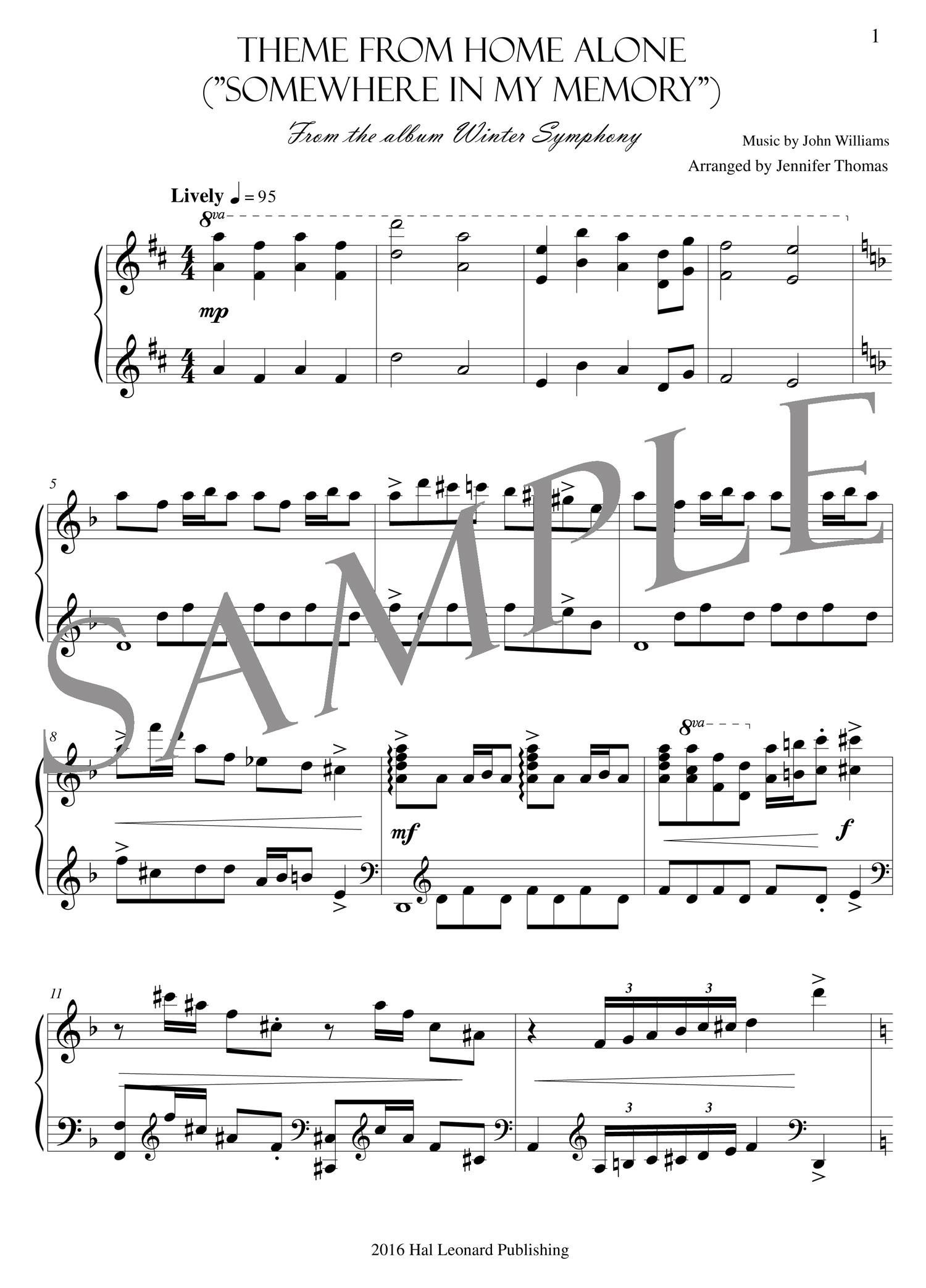 Theme from Home Alone – (PDF Sheet Music) — Jennifer Thomas Music